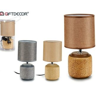 Rattan round lamp round base ass 3 col